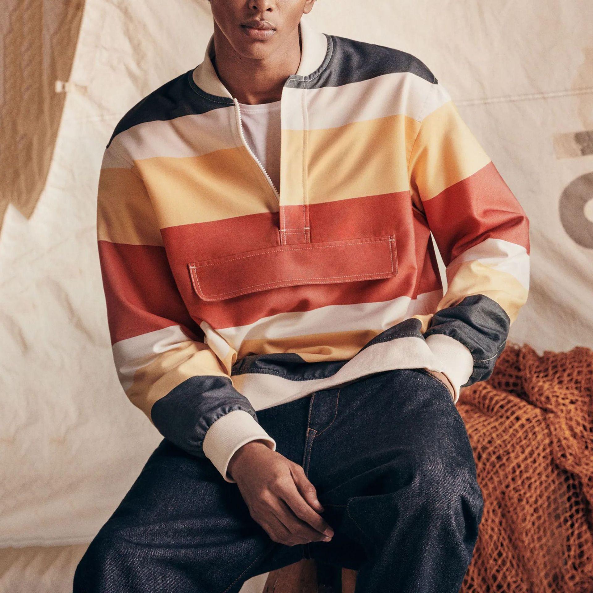 Модные мужские свитшоты, новинка 2021, Осенний Топ, мужские свободные повседневные свитшоты в полоску, пальто, мужская одежда