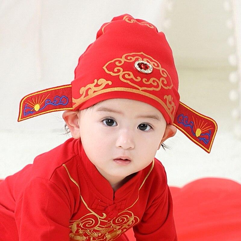 Шапка для новорожденных, Детская Классическая Шапка в китайском стиле, шапка чемпиона, Китайская Красная шапка на удачу для новорожденных, ...