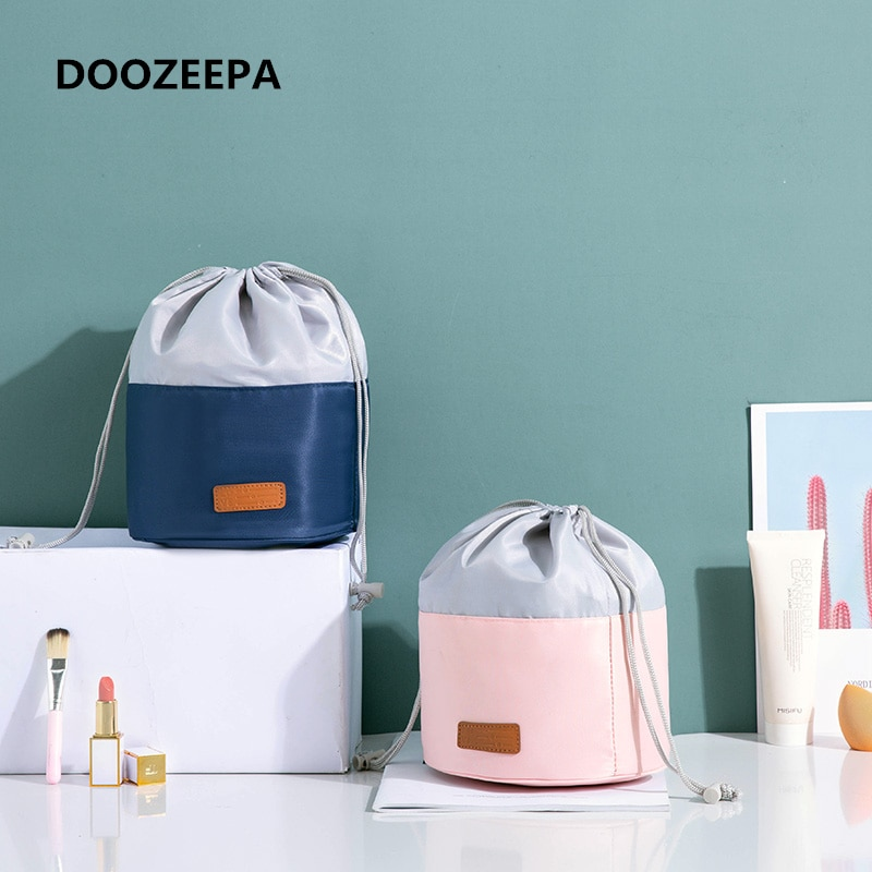 simple waterproof canvas makeup pouch fashion 2020 new cosmetic bag women makeup organizer toiletry bag travel cosmetics bag Travel Makeup Bag Beautician Drawstring Cosmetic Bag Women Quick Toiletry Bag Waterproof Barrel Organizer Makeup Pouch neceser