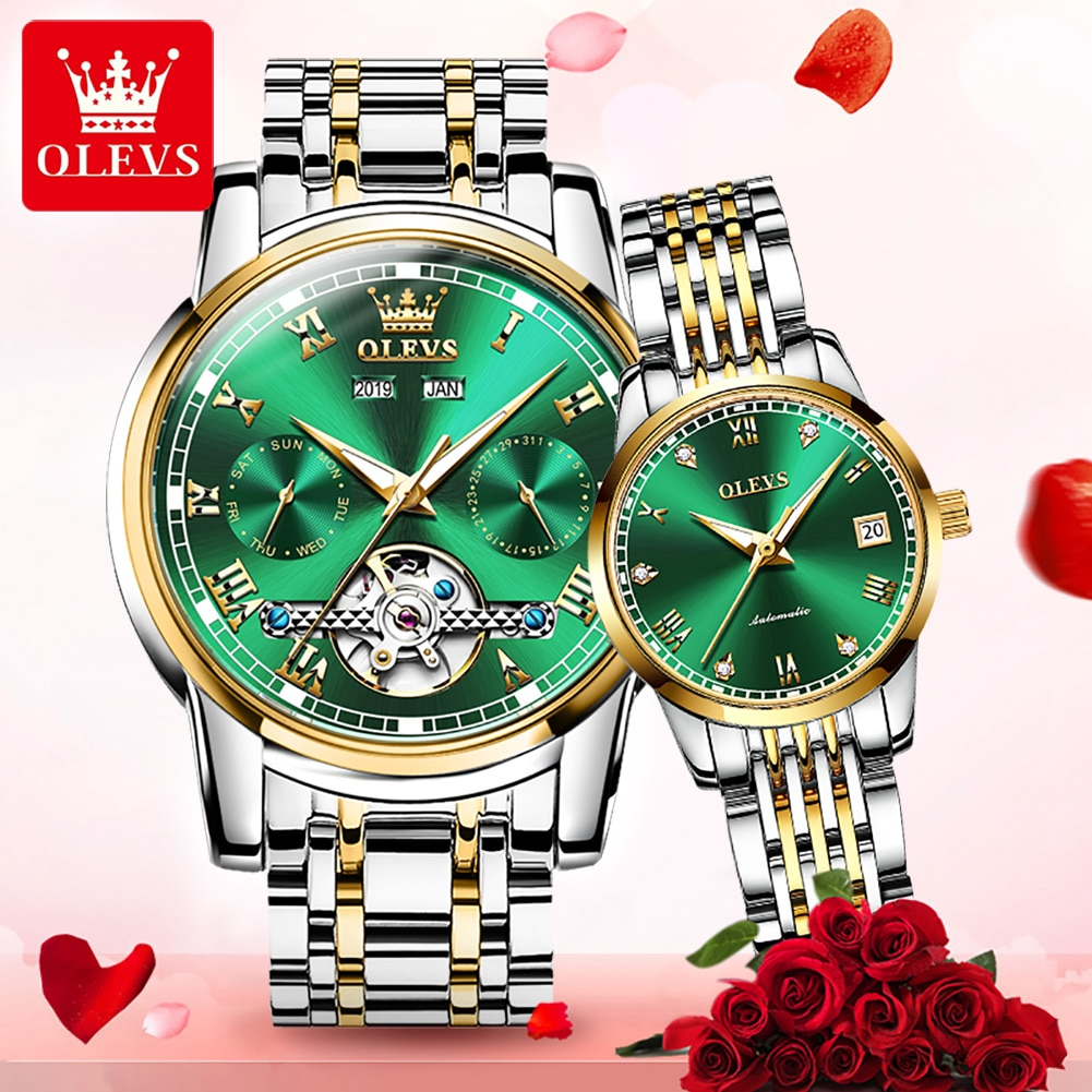 OLEVS Couple Watches Pair Men And Women Top Iuxury Waterproof Automatic Mechanical Watch Diamond Watch Relogio His And Hers Gift enlarge