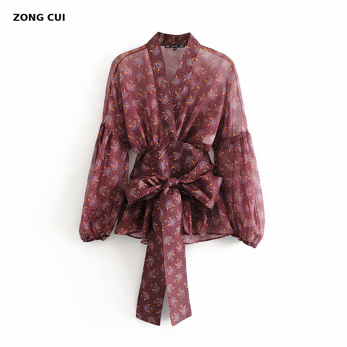 Blush ladies elegant xuef blouse, spring Spanish style, bohemian long sleeved V collar, wine red printed shirt coat.