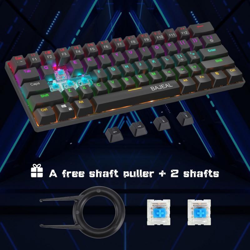 [해외] BW-KB1 무선 블루투스 호환 키보드 Gateron 블랙 스위치 RGB 63 키 레이아웃 NKRO Type-C 기계식 게임
