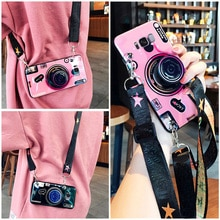 Для Samsung A10 A20E A30 A40 A50 A60 A70 S10 e S10lite J4 J6 J7 Plus 3D камера мягкий ТПУ чехол с ремешком + кронштейн