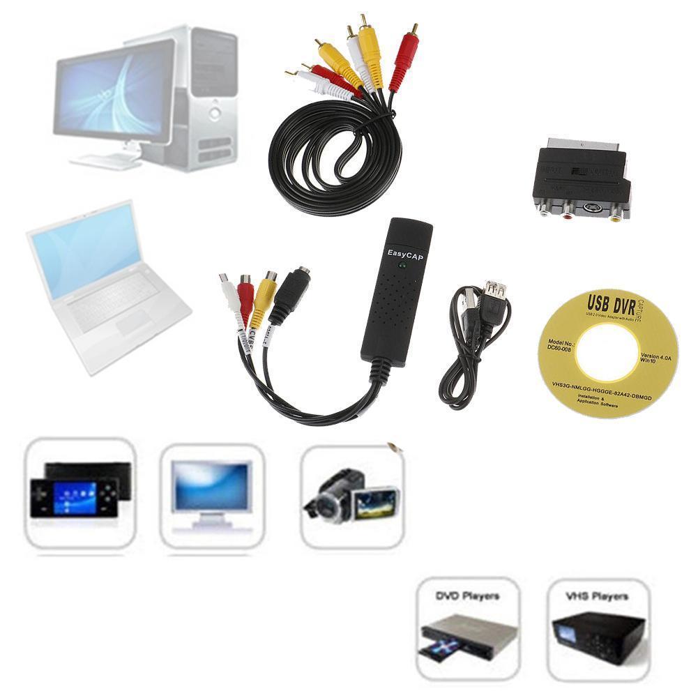 New Arrival USB 2.0 Capture 4 Channel Video TV DVD Audio TV Card DVR Adapter VHS Capture Video L7T2