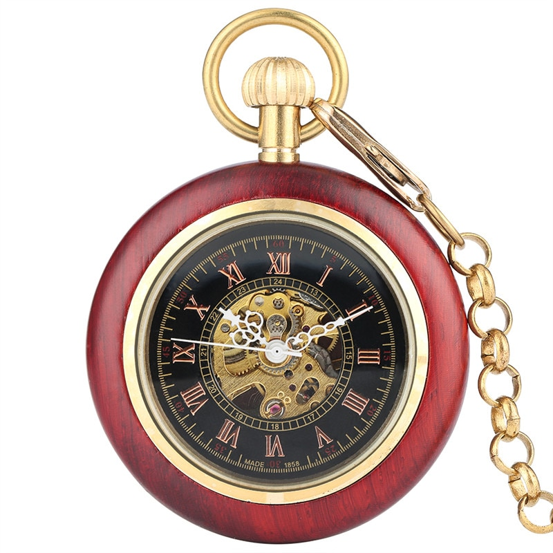 Antique Red Sandalwood Pocket Watch Open Face Automatic Mechanical Watches Roman Number Dial Pendant Chain Clock for Men Women