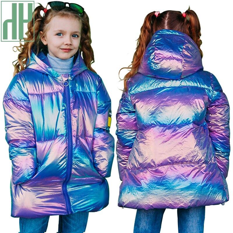 Hh crianças jaqueta de inverno para meninas casaco grosso quente brilhante colorido roupas para bebê crianças 96% algodão para baixo menina snowsuit parkas