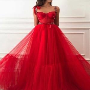 Red Prom Dresses 2021 New Women Formal Party Night Vestidos De Noite Elegant Spaghetti Straps Evening Gowns Long Abendkleider