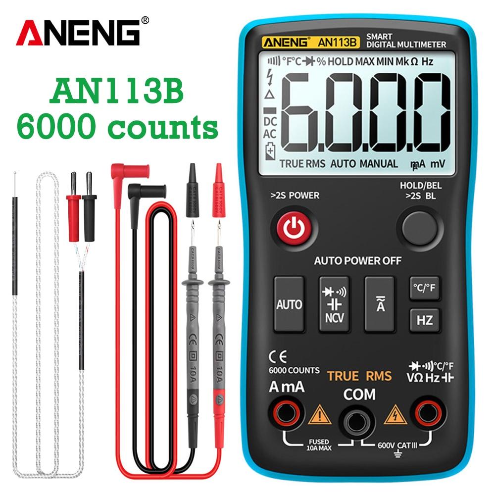 ANENG AN113B رقمي متعدد, ANENG AN113B رقمي متعدد صحيح RMS مع جهاز اختبار درجة الحرارة 6000 عد التلقائي المدى AC/DC الترانزستور الجهد متر