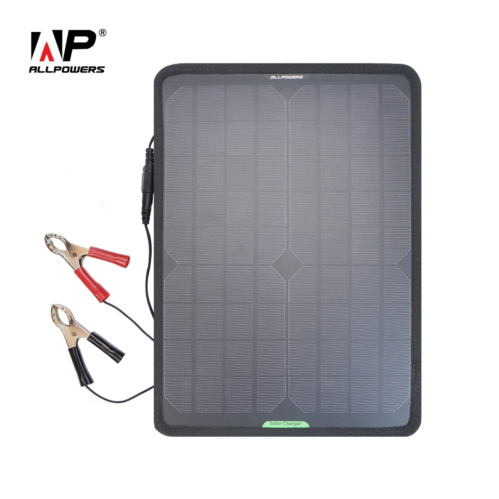 ALLPOWERS Solar Panel Car Charger 10W 12V Solar Car Battery Maintainer Charger with battery Clip for Car Vehicle Boat Motorcycle