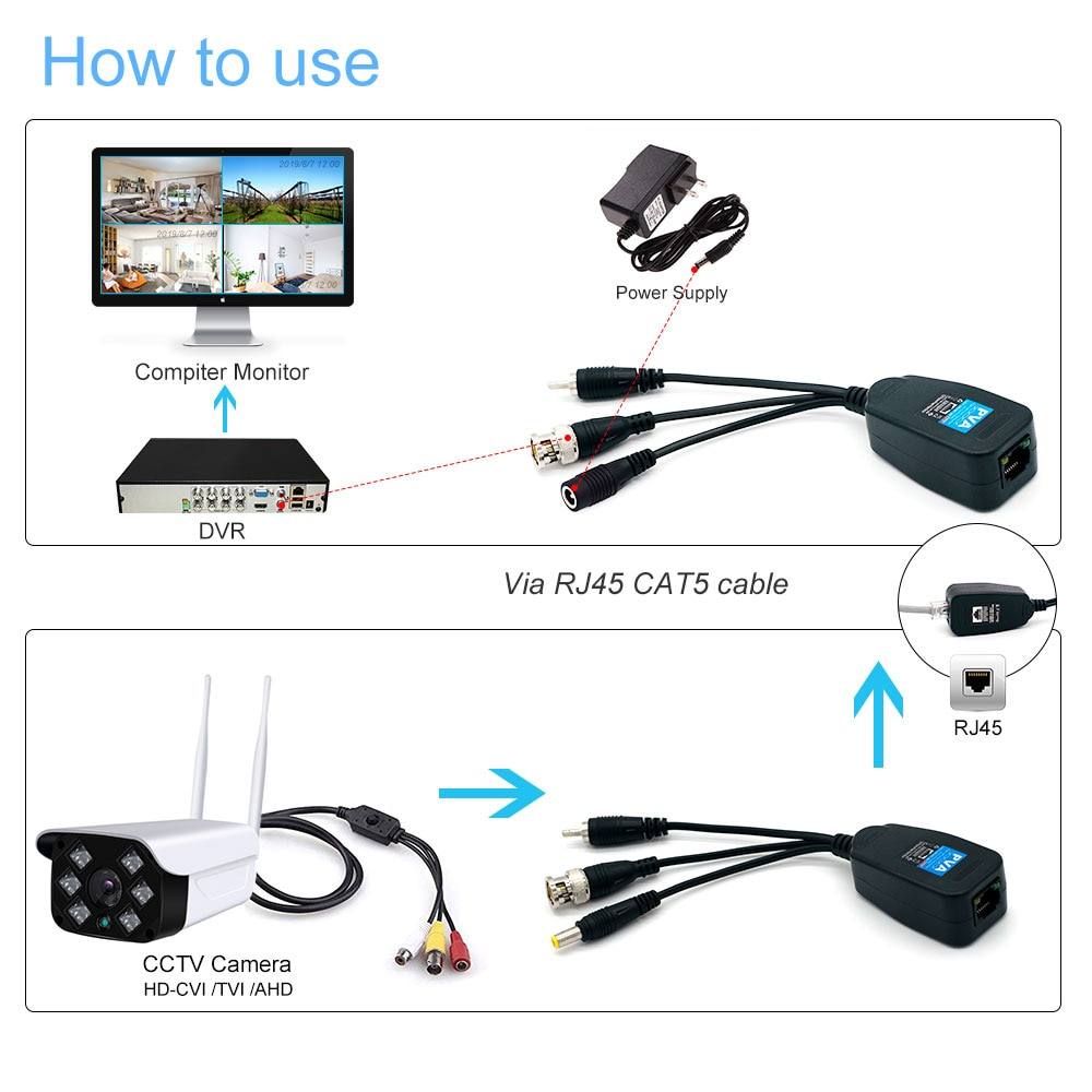 10Pairs CCTV 8MP Video Balun 3 in 1 Plug BNC Male to RJ45 Audio Video Power Balun Transceiver for CCTV Camera enlarge