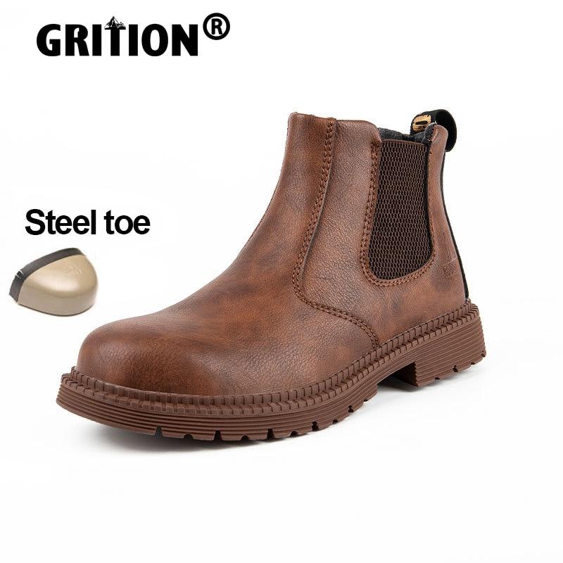 GRITION للجنسين أحذية عمل الصلب تو أحذية أمان مقاوم للماء مكافحة سحق المضادة للثقب عدم الانزلاق دائم خفيفة الوزن تشيلسي الأحذية