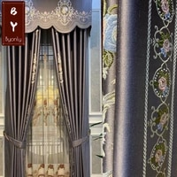 new european style luxury chenille stitching simple atmosphere purple curtains for living dining room bedroom