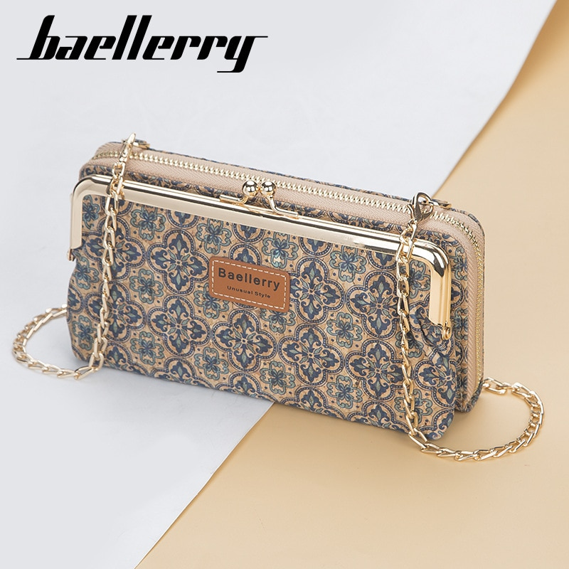 2020 Fashion New Women Wallets Wood Grain Chain Long High Quality Phone Holder Classic Female Purse Zipper Wallet For Women