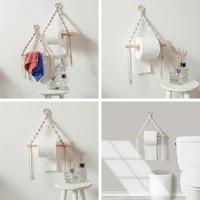 wooden toilet paper holder tapestry wall hanging room for kitchen bathroom towel ring toilet brush holder robe hook