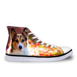 HaoYun Women Vulcanize Shoes Kawaii Animal Ladies High-top Canvas Shoes Girls Lace-up Casual Flat Walking Shoes Sapato Feminino