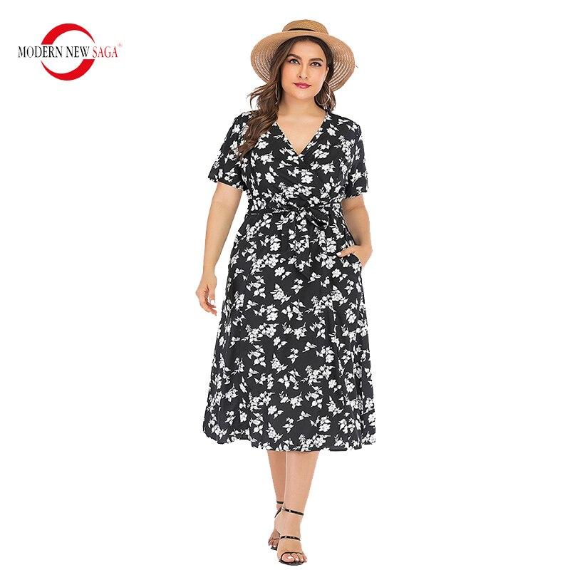 2020 Hot Sale Summer Women Dress Short Sleeve Floral Beach Dresses Long Dress Woman Bandage Dress Plus Size Boho Dress Bohemian