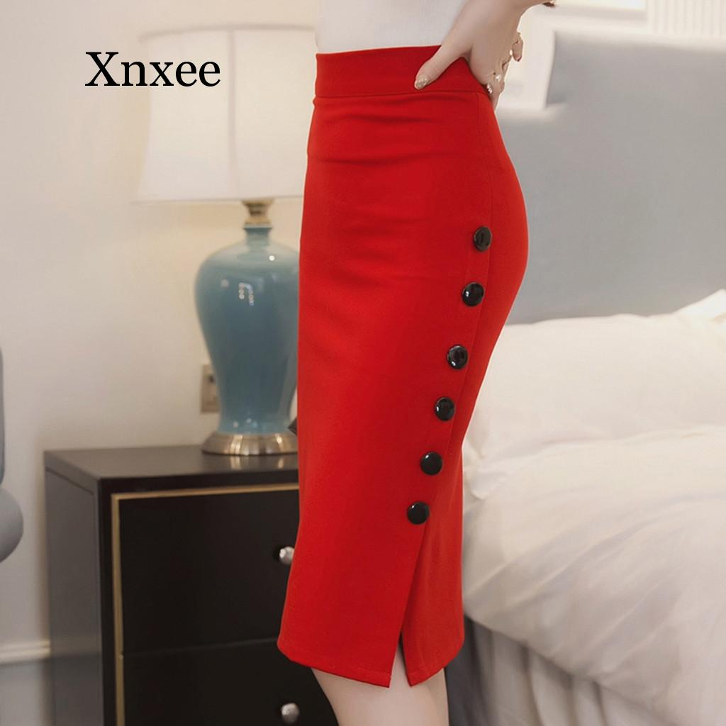 office pencil skirt with decorative v neck Skirt Women Summer Sexy Casual Pencil Skirt Ladies High Waisted Button Office Skirt  plus Size  dropship oversize pencil skirts