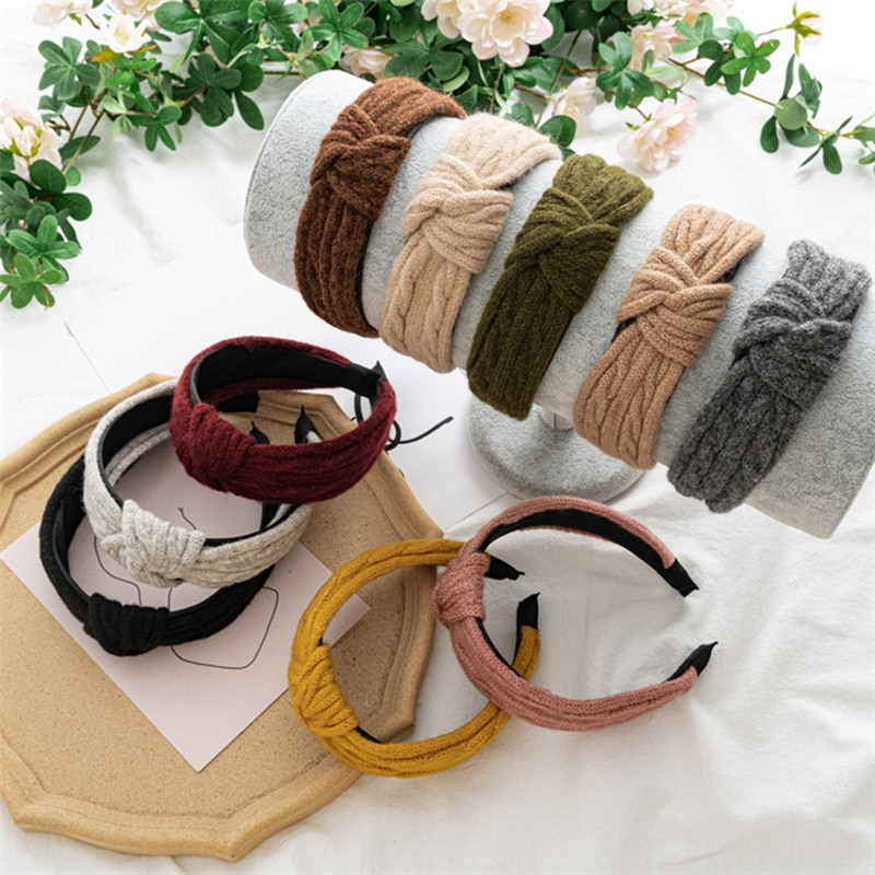 Solid Color Hairband Middle Knotted Hair Hoop Woolen Knitting Head Fashion Winter Knitted Headband Wide Brimmed