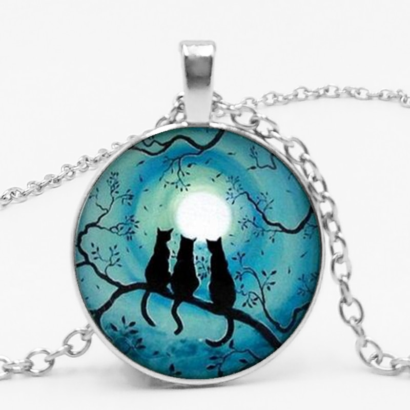 3 Color 2018 Latest Glass Kaboqin Round Blue Moon and Glas Necklace, Star Cat Crystal Necklace Private Order