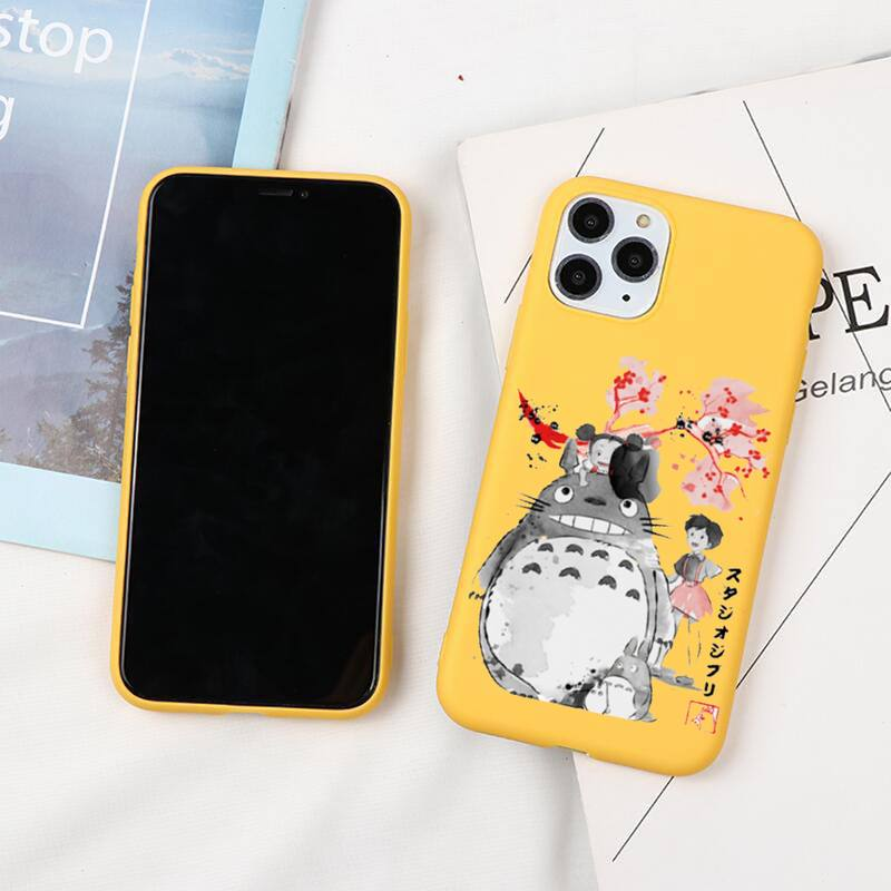 Kawaii Comic Totoro Phone Cases For Iphone 6 6s 7 8 Plus XR X XS XSmax 11 12 Pro Mini Max Candy Yellow Silicone Cover  - buy with discount
