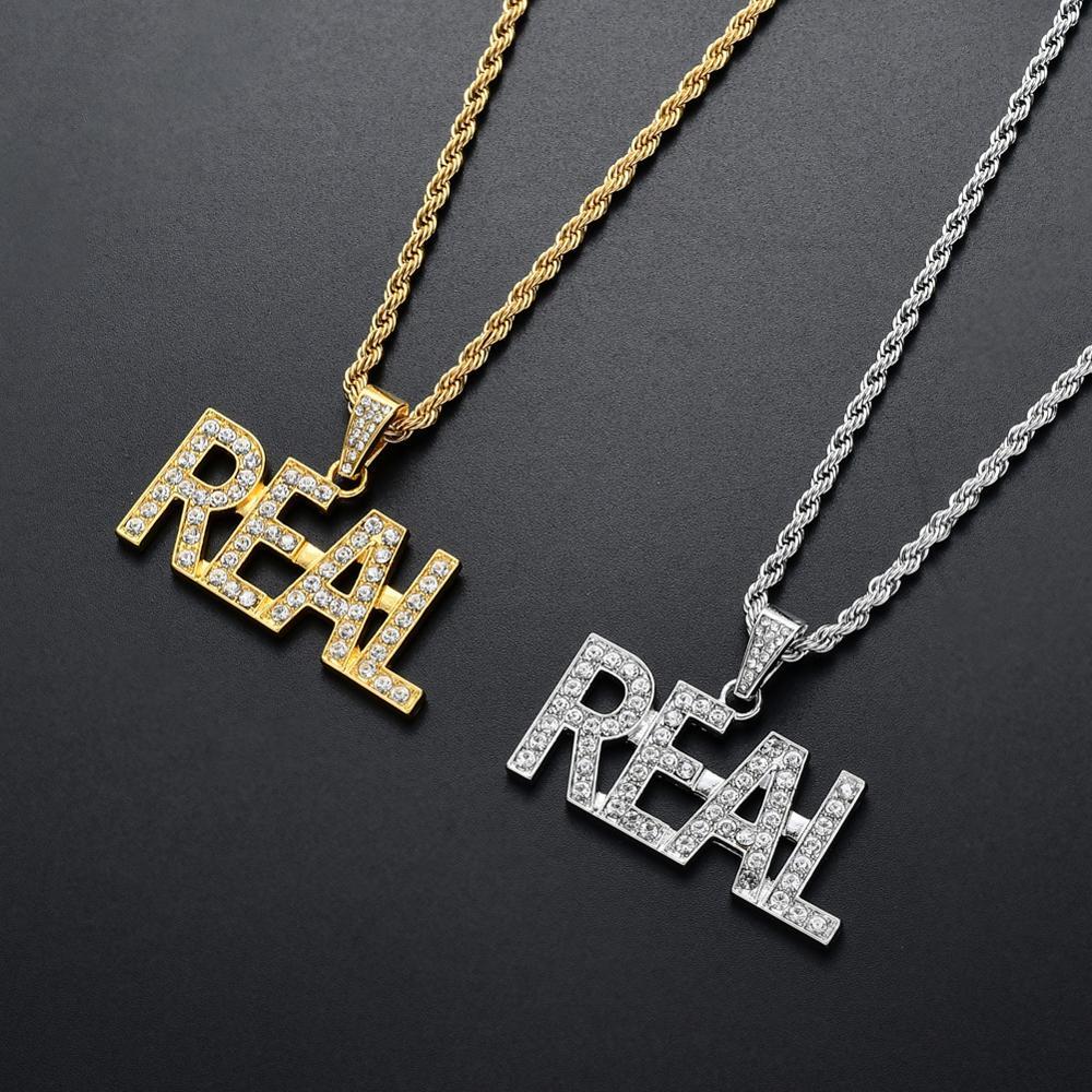 Nueva llegada de alta calidad de lujo de aleación de cristal de hip hop letra REAL colgante collar joyería para hombres helado Bling rap regalo