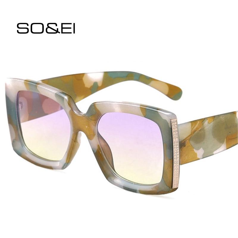 SO&EI Retro Classic Square Women Sunglasses Fashion Gradient Mirror Eyewear Shades UV400 Men Vintage Trending Sun Glasses