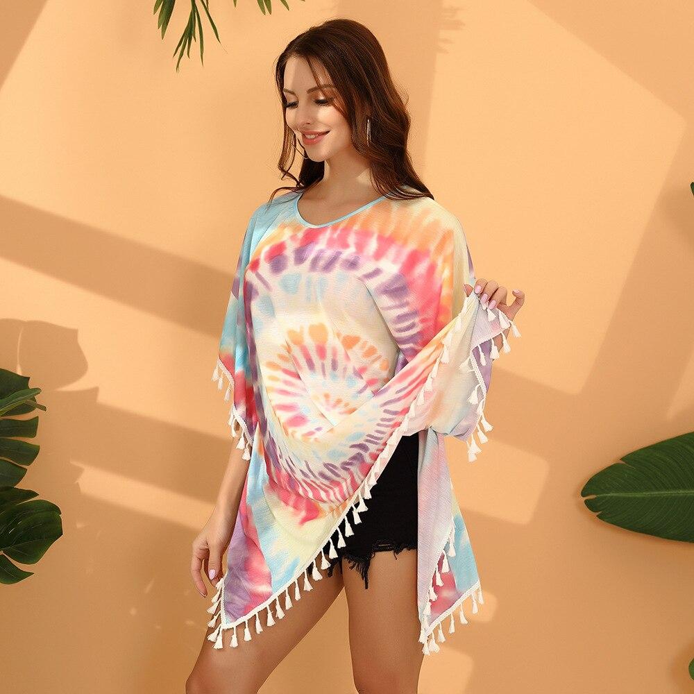 Tie Dye, ropa de manga de murciélago con borlas para mujer, verano 2020, cuello redondo de Hip Hop, vestido de Patrón Irregular para mujeres, bata de playa suelta, vestido