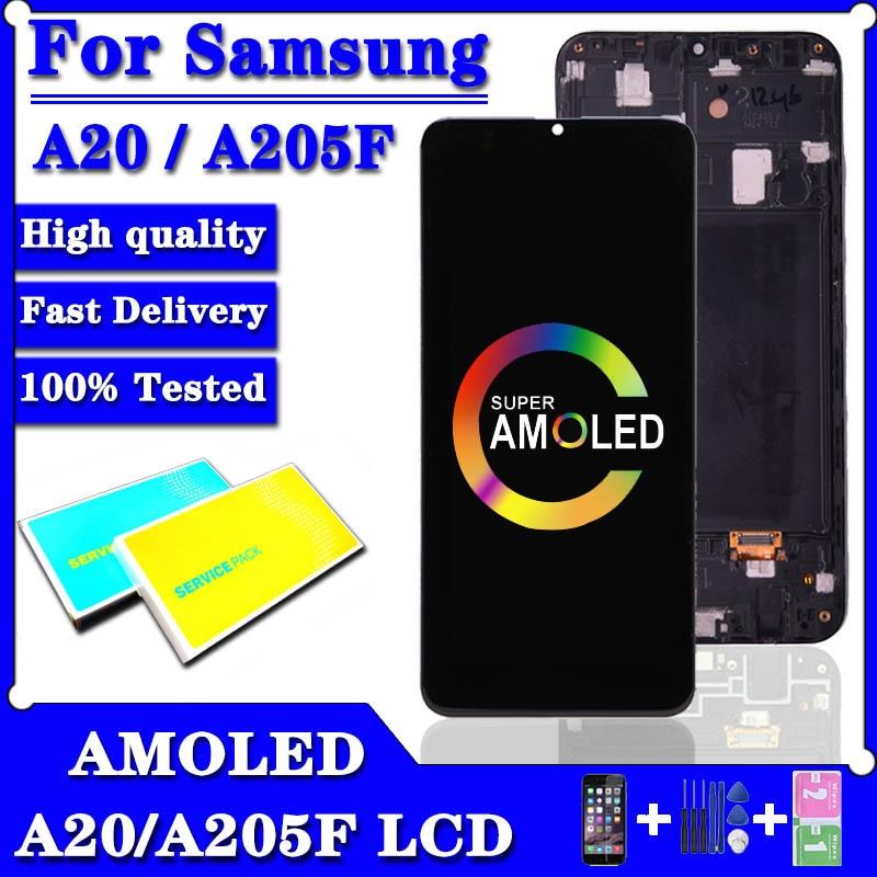 سوبر AMOLED لسامسونج غالاكسي A20 A205 SM-A205F شاشة LCD تعمل باللمس لسامسونج A205G/DS A205F/DS A205GN/DS lcd