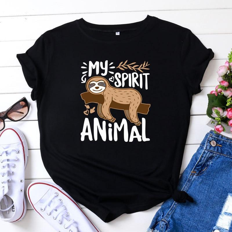 Camiseta con estampado de perezoso de verano para mujer de estilo coreano de algodón cuello redondo pantalón corto Casual manga Kawaii divertida camiseta