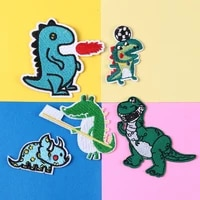 kawaii embroidered dinosaur patches iron on cartoon animal appliqued boys kids jeans coats stickers diy sewing accessories