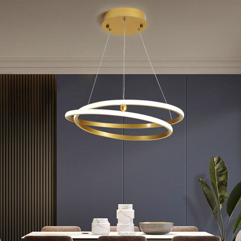 Nordic Gold Round LED Suspension Chandelier for Bedroom Living Dining Study room Loft Hallway Home Indoor Decor Fixture Lighting