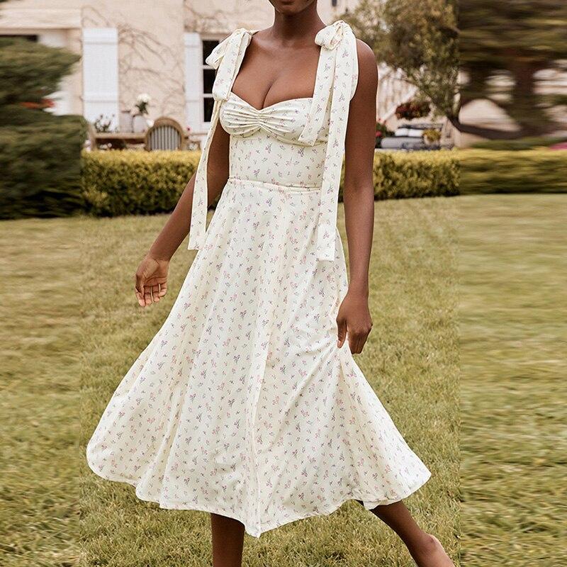 Longue robe dété fendue à motif Floral, bretelles nœud papillon, sans manche, dos nu, tenue de soirée élégante pour femme, vêtements de plage, vacances, été
