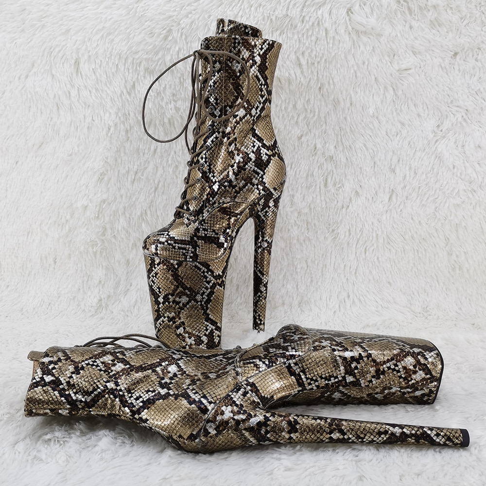 Leecabe  23CM/9inches snake material High Heels Pole Dance boot