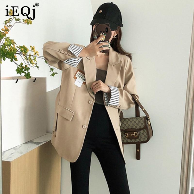 IEQJ 2021 الخريف جديد رداء غير رسمية معطف المرأة فضفاضة تنوعا تصميم مزاجه السترة الإناث الموضة 3W198
