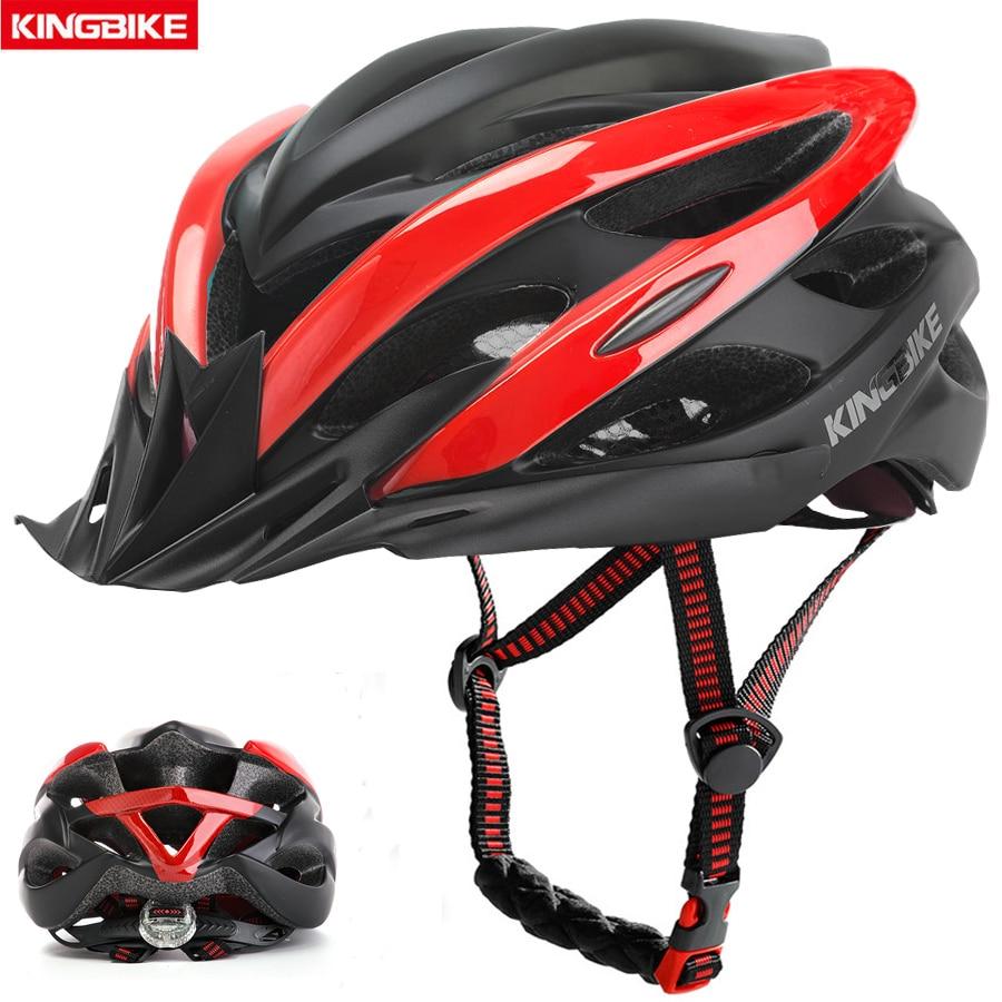 KINGBIKE-casco ultraligero para ciclismo, para hombre, con luz trasera, Tamaño XL, Rojo