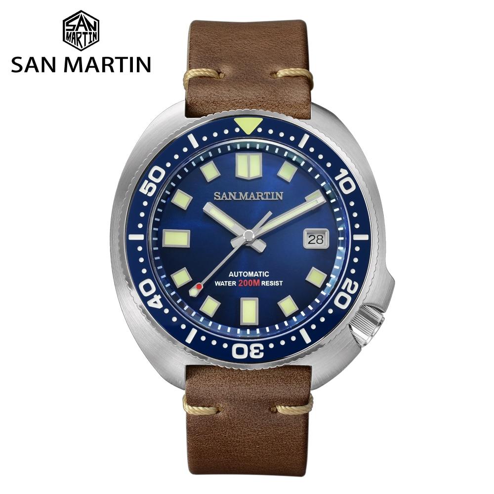Часы San Martin, обновленная версия, часы для ныряльщиков, 20 бар, нержавеющая сталь, Мужские автоматические механические часы с сапфиром, кожа, светящиеся