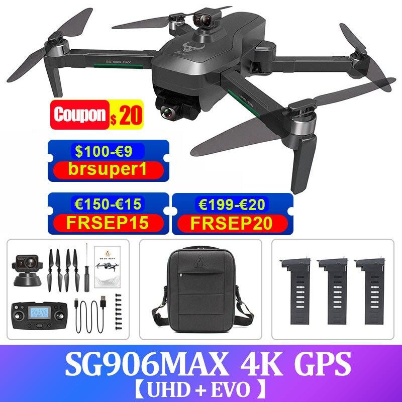 SG906 ماكس برو 2 4K غس الطائرة بدون طيار مع كاميرا 3-محور جيمبال فرش كوادكوبتر 5G فبف تجنب عقبة أرسي هليكوبتر درون 1.2 كجم