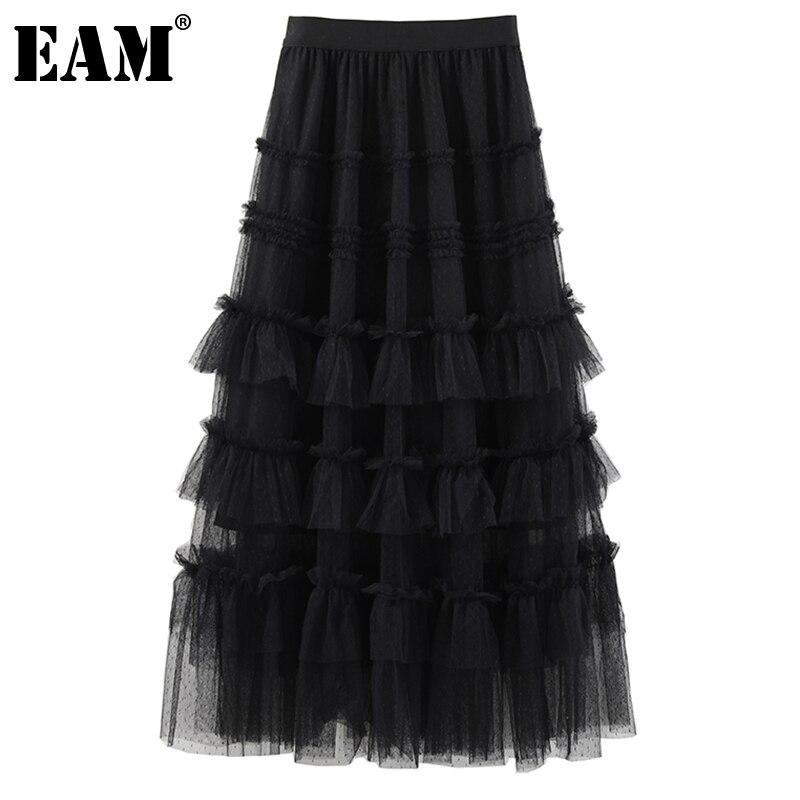 [EAM] عالية مرونة الخصر شبكة سوداء كعكة طويلة أنيقة نصف الجسم تنورة المرأة الموضة المد جديد ربيع الخريف 2021 1DE36090