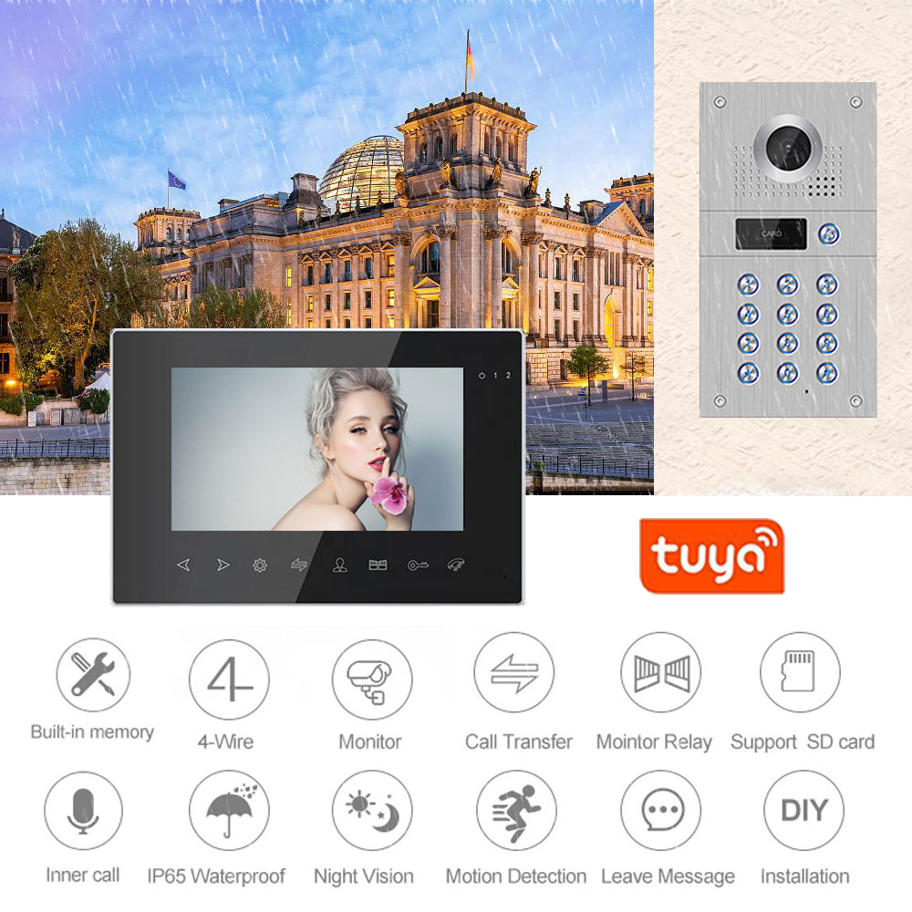 7 Inch Wireless Wifi Video Intercom for Home IP Video Doorbell Password APP Unlock Motion Detection Access Control System enlarge