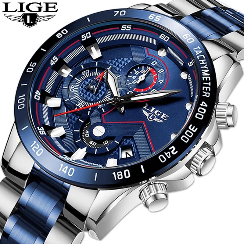 LIGE-ساعات رجالية ، كرونوغراف ، مقاومة للماء ، كوارتز أزرق ، ذكر
