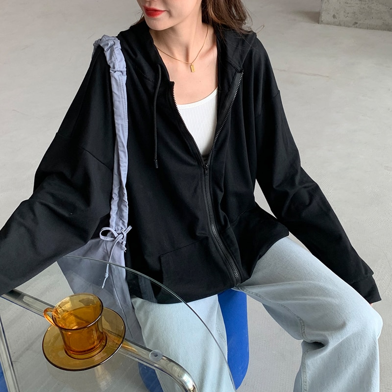 Кофта женская с капюшоном, толстовка на молнии, Повседневная тонкая Свободная кофта с длинным рукавом, в Корейском стиле, ретро