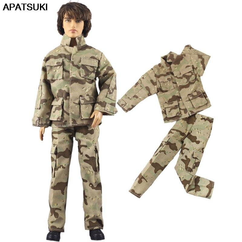 Soldado del ejército Cosplay 1/6 ropa de muñeca para Ken muñeca abrigo y Pantalones para Barbie novio Ken Prince hombre muñeca