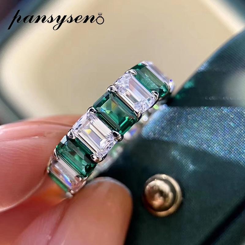 Anillos de piedras preciosas de moissaita con diseño Original Emreald de PANSYSEN para mujer, anillos redondos de Plata de Ley 925 auténtica para parejas, venta al por mayor