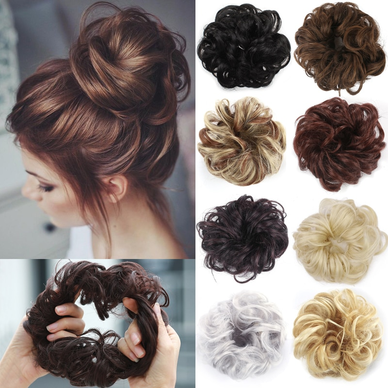 Грязные шиньоны для женщин, пучок волос, эластичная резинка для волос, шиньоны, Пончик, завитые волосы, канатная Резиновая лента, синтетическое покрытие, хвостик