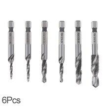 6 pièces/lot 6.35MM tige hexagonale HSS métal traitement vis Point métrique filetage mâle perceuse ajustement pour accessoires doutils électriques
