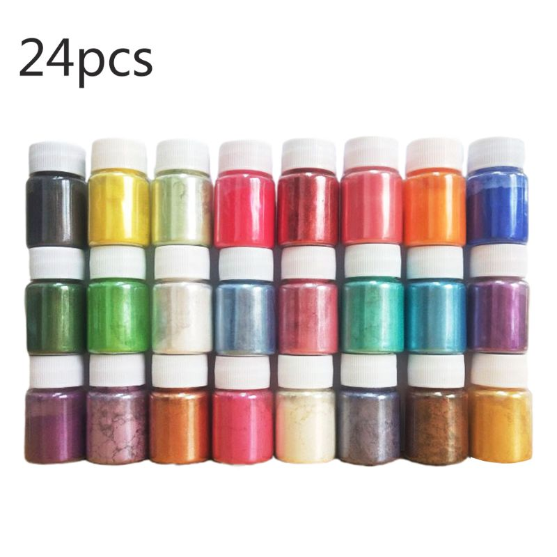 24 Pcs DIY Handmade Pearlescent Mica Powder Epoxy Resin Dye Pearl Pigment Resin Glue Pigments Material Crystal Mold Soap Making