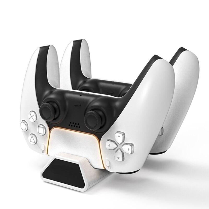Зарядная док-станция P82F для PS5 игровых контроллеров, зарядная док-станция с двойным сенсором, подставка, USB-кабель для зарядки