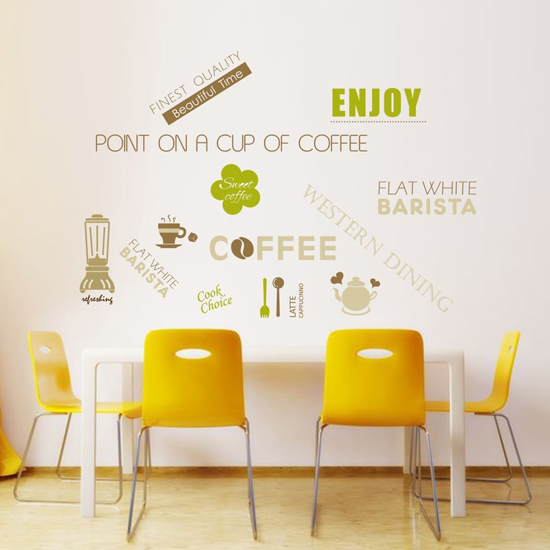 Kitchen Restaurant Food & Drink icon wall sticker Cafe Glass window Vinyl Wall decorative stickers PVC Removable Home Decor