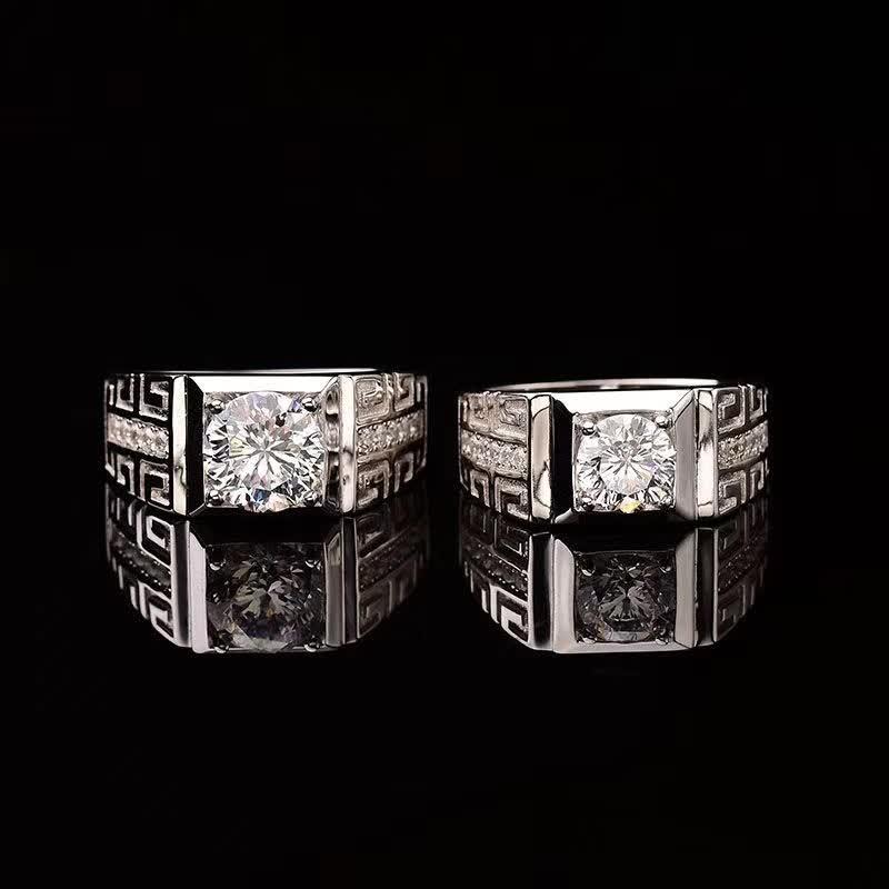 Anillo de plata esterlina 1ct-2ct Moissanite de lujo Anillos Masculinos para hombres blanco D Color Real S925 18K oro blanco plateado joyería fina