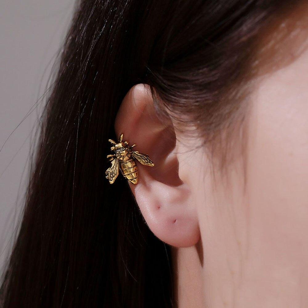 1 Pza. Clip de oreja en forma de abeja puños Color oro/plata oreja de mentira Piercing Metal Clip no perforante pendientes mujer insecto oreja joyería